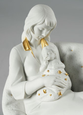 Feels Like Heaven Mother Figurine. White & Gold Lladro 01009381