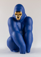 Gorilla Figurine. Blue-Gold. Limited Edition  01009403 / 9403