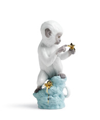 LLADRO CURIOSITY - MONKEY ON TURQ. ROCK (01007238 / 7238)