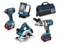 Bosch BAG+4RS 18v 4 Piece Cordless Tool Kit with 3 x 4.0Ah in Bag