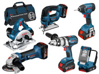 Bosch 0615990G8J 18v 6 piece Cordless Tool Kit 3 x 4.0Ah Li-ion and Tool Bag