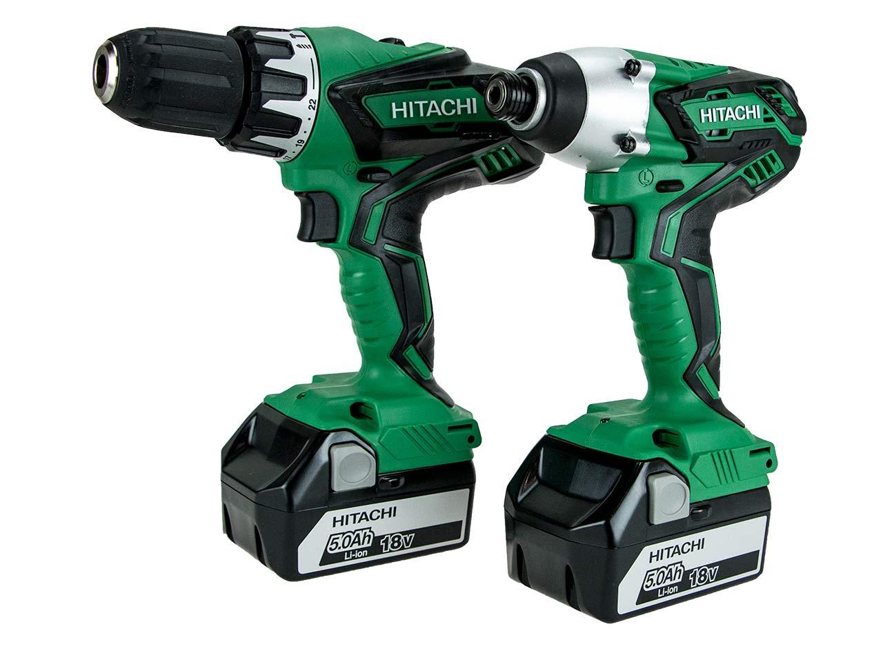 Hitachi Kc18dgl Je 18v Combi Drill Impact Driver Twin Kit With 2 X 5 0ah