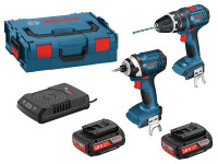 Bosch GSB 18 V-LI + GDR 18-LI With 2 x 2.0Ah Wireless And Charger in L-BOXX