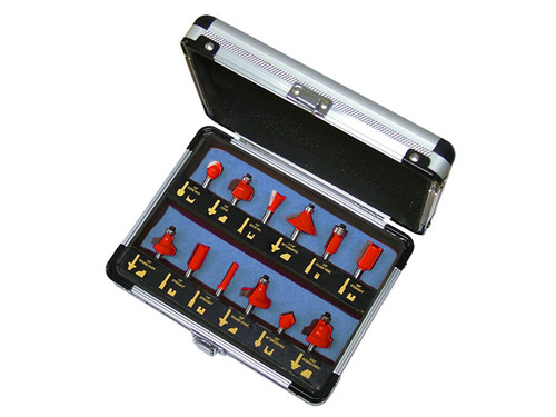 """Faithful 15 Piece Tungsten Carbide Router Bit Set (1/4"""" Shank) (FAIRBS12)"""