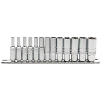 "Draper 16490 1/4"" SQ. DR. DEEP METRIC SOCKETS ON METAL RAIL (13 PIECE)"