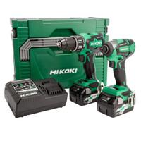 Hikoki 18V Combi Drill & Impact Driver Twin Kit (KC18DBFL2/JDZ)