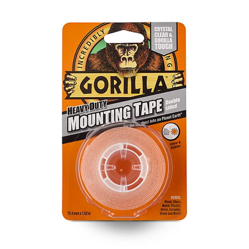 Gorilla Double-Sided Mounting Tape 25.4mm x 1.52m (Clear) (GRLGGTHDSMT)