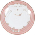 Smiling Pink Cat Porcelain Plate 7-3/4in