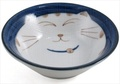 Smiling Blue Cat Porcelain Shallow Bowl 4-1/4in