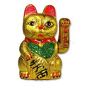 Beckoning Ceramic Maneki Neko Lucky Cat 7in