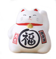 White Ceramic Maneki Neko Lucky Cat