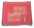 Square Japanese Plastic Snack Plate Red Dragonfly
