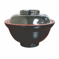 Black/Red Melamie Miso Soup Vegetable Bowl With Lid 21oz