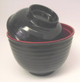 Black/Red Melamie Miso Soup Vegetable Bowl With Lid 11oz