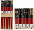 5 Pairs Bamboo Chopstick Gift Set Red Japanese Print