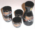 Porcelain Cloud Dragon Sake Set Black