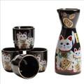 Porcelain Maneki Neko Sake Set Black