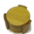 6pcs Bamboo Coaster Set with Holder
