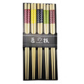 5 Pairs Japanese Bamboo Chopsticks Colorful White Round Dot