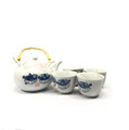 Japanese Porcelain Ceramic Puffer Fish Design Teapot with 4 Tea Cups