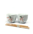 Set of 2 Porcelain Ceramic Bowls Chopsticks Sakura Design