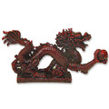 Chinese Feng Shui Dark Red Resin Dragon Statue Collectibles