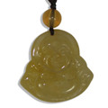 Chinese Feng Shui Yellow Jade Laughing Buddha Necklace Hanging Ornament