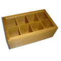 Tea Bag Organizer Spice Organizer and Tea Storage Stash Tea Bag Holder with 8 Compartments, Natural Bamboo Wooden Box