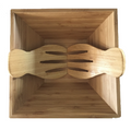 "Large Bamboo Salad Bowl Set with 2 pieces Salad Hand Server Forks - Great for Serving Fruit, Salad, Pasta, Wood Brown 11""x11"""