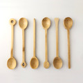 Set of 6 Reusable Bamboo Dessert Ice Cream Yogurt Spoons Spice Salt Sugar Spoons Green Tea Matcha Scoop 4.5 inch Long