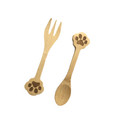 Set of 2 Doggy Paw Themed Bamboo Spoon and Fork Set for Kids Appetizer Fruit Dessert Ice Cream Yogurt Spice Salt Sugar