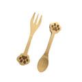 Set of 2 Doggy Paw Themed Bamboo Spoon and Fork Set for Kids Appetizer Fruit Dessert Ice Cream Yogurt Spice Salt Sugar