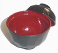 Plastic Soup Bowl w/ Lid Black Red