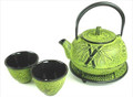 Lime Yellow Cast Iron Tea Set Bamboo Pine