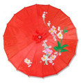 Red Transparent Chinese Parasol 22in
