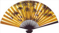 Large Oriental Wall Fan Bamboo & Crane 30in