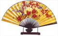 Large Oriental Table Fan Plum Blossom 18in