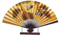 Large Oriental Table Fan Pine & Crane 18in