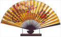 Large Oriental Table Fan Peacock 18in