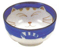 Smiling Blue Cat Porcelain Soup Bowl 5in