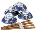 Blue Usagi Porcelain Rice Bowl Set