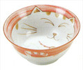 Smiling Pink Cat Porcelain Noodle Bowl 5-3/4in