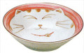 Smiling Pink Cat Porcelain Shallow Bowl 6-3/4in