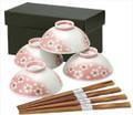 Pink Sakura Porcelain Rice Bowl Set