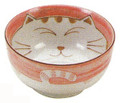 Smiling Pink Cat Porcelain Soup Bowl 5in