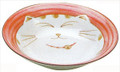 Smiling Pink Cat Porcelain Shallow Bowl 8-1/2in