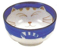 Smiling Blue Cat Porcelain Soup Bowl 5in