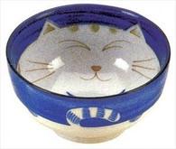 Smiling Blue Cat Porcelain Soup Bowl 6in