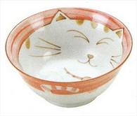 Smiling Pink Cat Porcelain Noodle Bowl 5-3/4in