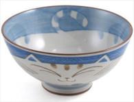 Smiling Blue Cat Porcelain Rice Bowl 4-1/2in